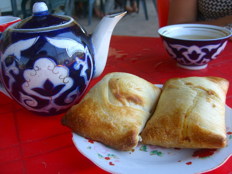 Tea and Somsa - Nukus, Uzbekistan