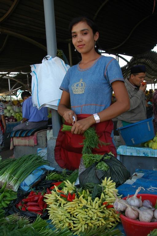 Woman Vendor with Chili Peppers - Tashkent, Uzbekistan