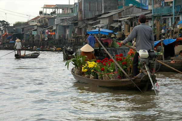 Flowers on a Boat - Mekong Delta, Vietnam