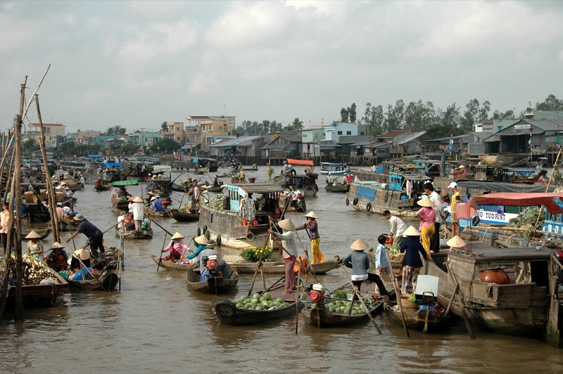 Boats at Cai Rang Floating Market - Mekong Delta, Vietnam