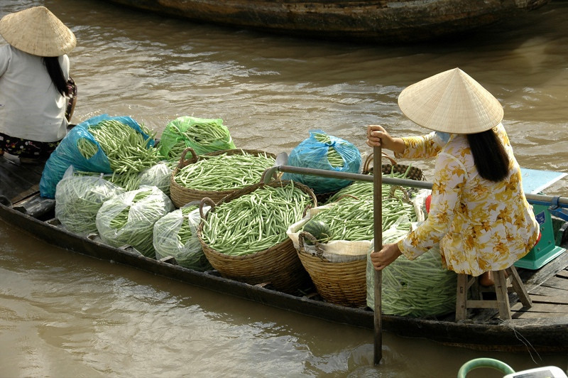 Long Beans at Floating Market - Mekong Delta, Vietnam