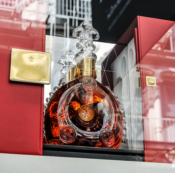 Cognac in a very fancy window display.   Can't image the asking price!