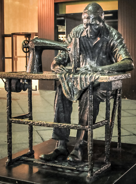 This large bronze piece of street art is a tribute to the huge sewing and fashion trade.