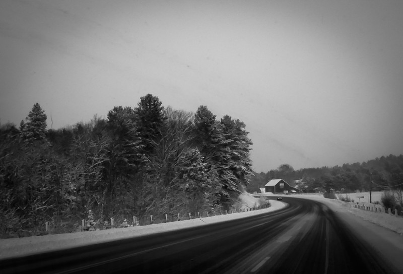 Taken through our windshield at moderate speed. Temperature has dropped from -10 deg C in Toronto  to -20 here.
