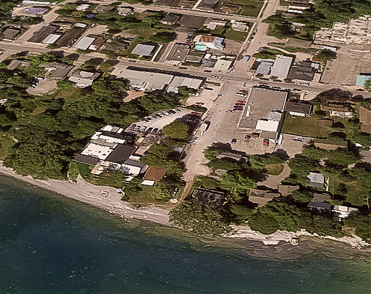 Aerial view of the hotel complex (centre left) along the shores of Lake Ontario in Wellington.
