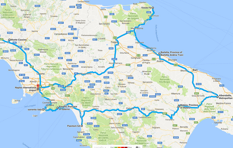 Johns Italy route map v6 Post trip
