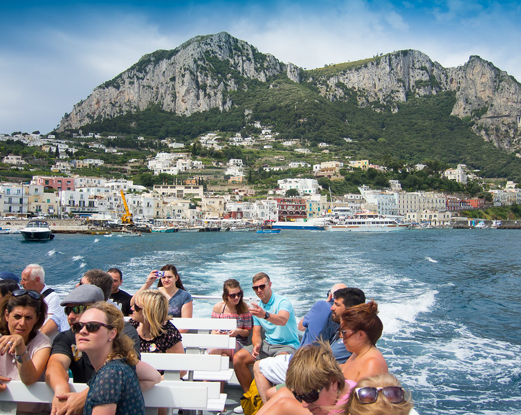 We boarded a local tour boat in Capri and headed out into rough waters on what became a windy day!