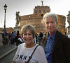 Due to delay, we only arrived in Rome at about 6pm instead of Noon.  Met with my cousin Ralph P who lives in Rome near the Vatican.  Taken on Pont St Angelo very near our B & B enroute to a nice Trattoria for dinner