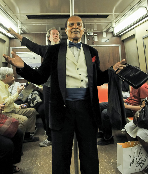 A diverse range of riders can be seen on NY subways!
