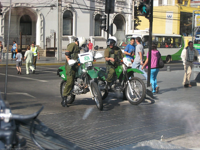 Police patrol on dual sport bikes, Santiago, Chile.