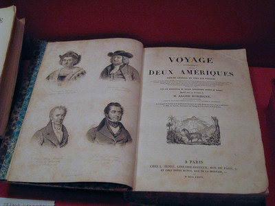 Voyage to the Americas book from the age of discovery. Patagonia Museum, Argentina.