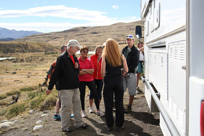 Steph giving a tour of the rig to a group of tourists. Torres del Paine National Park, Chile.