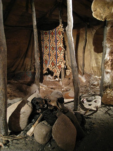 Recreation of an indiginous hut. Patagonia Museum, Argentina.