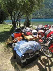 Gear that is stowed in the garage. Lago Gutierrez, Argentina.