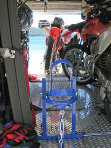 Loading my bike. Lago Gutierrez, Argentina.