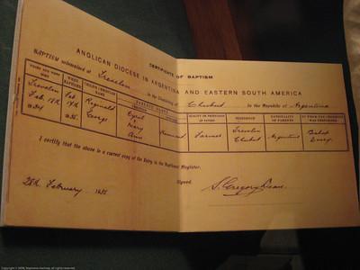 Baptism record. Patagonian Museum, Argentina.
