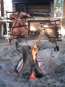 Typical Argentine wood restaurant BBQ. El Bolson, Argentina.