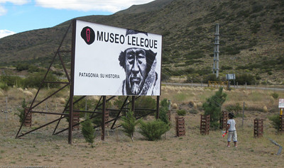 Patagonian history museum founded by Benneton. Argentina. Note guy wires holdng sign in place against the wind.