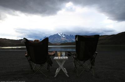 Sundowner view. Laguna Amarga. Near Torres del Paine National Park, Chile.