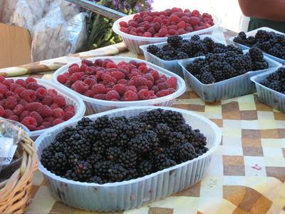 fresh berries, market, El Bolson, Argentina.