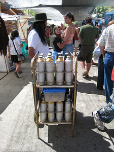 Yerba Mate (mah-tay), (an herbal tea consumed by almost every Argentine), delivery cart in market. El Bolson, Argentina.