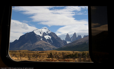 View from our camper at the waterfall campsite. Torres del Paine National Park, Chile.
