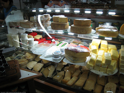 Cheese at market, El Bolson, Argentina.