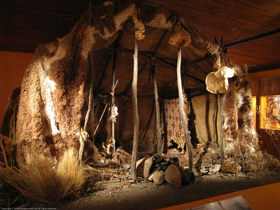 Recreation of an indiginous hut. Patagonia Museum, Argentina.