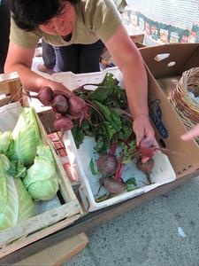 fresh beets, market, El Bolson, Argentina.