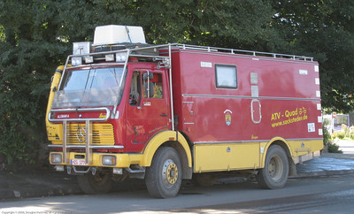 German Mercedes 4x4 Fire Truck based expedition vehicle. El Bolson, Argentina.