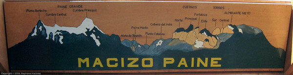Visitor center graphic of primary mountain range. Parque Nacional Torres del Paine, Chile