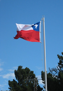 Chilean flag. Parque Nacional Torres del Paine, Chile