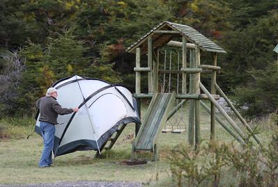 Retrieving a flyaway tent. Parque Nacional Torres del Paine, Chile