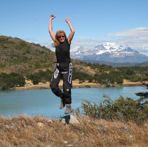 Steph enjoying her day. Parque Nacional Torres del Paine, Chile