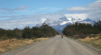 Riding the park road. Parque Nacional Torres del Paine, Chile