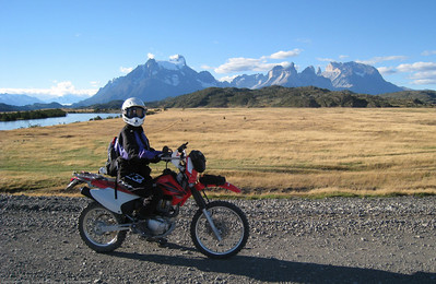 Steph riding the park roads. Parque Nacional Torres del Paine, Chile