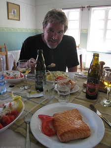 Eating a fantastic lunch at the old estancia kitchen now a hotel restaurant next to the main visitor center. It was the best restaurant meal we had at the park. Parque Nacional Torres del Paine, Chile