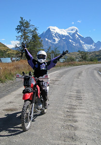Steph enjoying the ride. Parque Nacional Torres del Paine, Chile