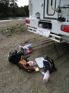 Rebuilding the ditch bag. Campsite on the road to Caleta Tortel, Chile.