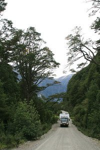 On the road to Caleta Tortel, Chile.