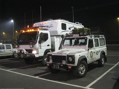 At the Spanish Club for dinner. The rig and our friend Jorge's Land Rover Defender. Linares, Chile.