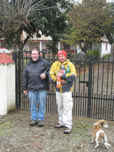 With Jorge Valdes, our friend and guide. At his parents' home where he grew up. Near Linares, Chile.