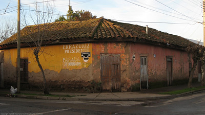 Typical historic building in the commercial district. Lenares, Chile.