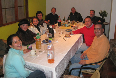 Some of the many people who filtered in and out at the party. We met local entrepreneurs, the local district attorney, the director of the local office of Chile's equivilent of the FBI, etc. There were still people arriving when we left after midnight. Linares, Chile.