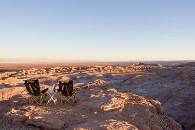 Camp site view on the cliffs above the Cordillera del Sol (mountains of salt). San Pedro de Atacama, Chile.