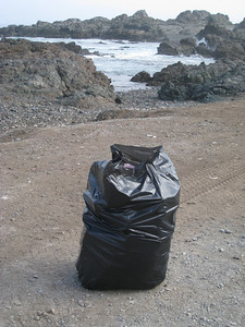 One of four bags of trash I picked up in the area around our camp site. Camp site. North of Taltal, Chile.