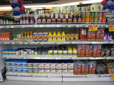 4th of July display of American foods. Jumbo grocery store. La Serena, Chile.