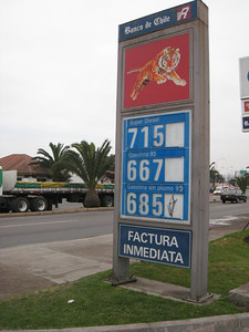 Fuel prices per liter in Chilean pesos. A factura is a receipt that is valid for tax purposes. La Serena, Chile.