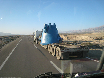 Mining equipment on transport. Northern Chile.