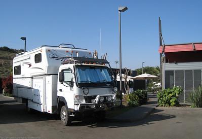 Camp site. Copec station just north of La Serena, Chile.